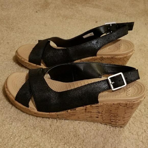 e7ee46c76 CROCS Shoes - Women s size 9 Black Textured Cork Wedge